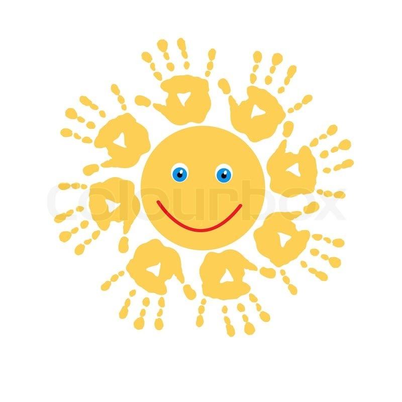 Stock-Vektor von 'Joyful Sonne Handabdrücke'